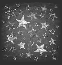 set hand drawn stars on chalkboard vector image