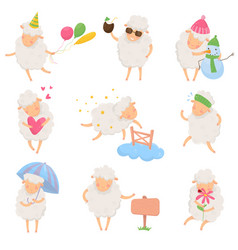 set of cartoon sheep in different situations vector image