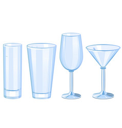 Set of cocktail glasses collection vector