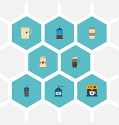 set of coffee icons flat style symbols with vector image