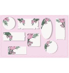Set of different floral paper labels vector