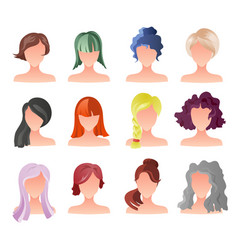 set of female hair style sprites game vector image