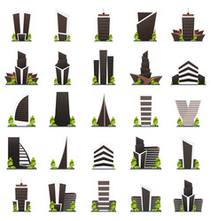 set of flat style modern city houses building of vector image