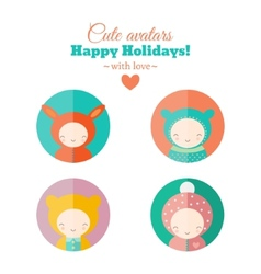 set of holiday carnival avatars vector image