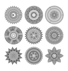 set of mandalas round floral ornament mottifs vector image