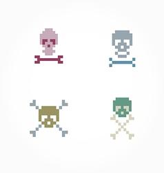 Set pixel skull vector