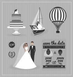 set wedding design elements vector image