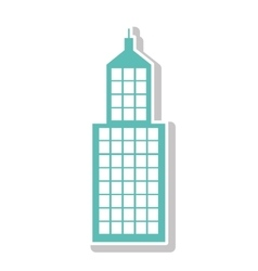 Silhouette with skyscraper building in aquamarine vector
