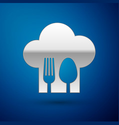 Silver chef hat with fork and spoon icon isolated vector