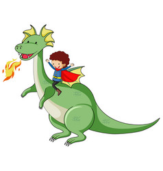 Simple cartoon character dragon breathing fire vector