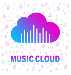 simple icon with cloud and sound equalizer wave vector image