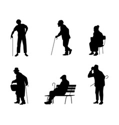 Six silhouettes of older people vector