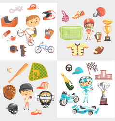 sport for kids including baseball american vector image