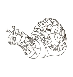 Steampunk style snail coloring book vector