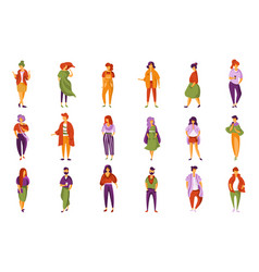 stylish fashionable people set men and women vector image