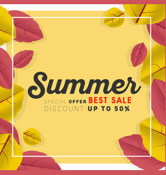summer sale square banner promotion vector image