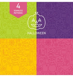Thin Line Halloween Holiday Patterns Set vector image