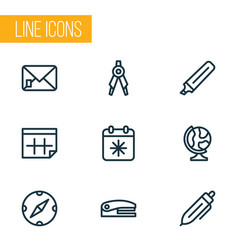 tool icons line style set with marker calendar vector image
