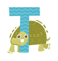 Turtle and letter t on a vector