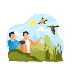 Two male characters watching birds vector