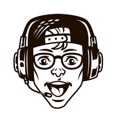 vintage happy young gamer in headset vector image