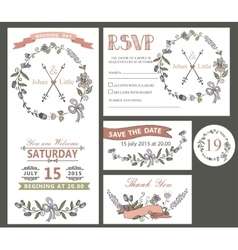Vintage wedding design template set with flowers vector image