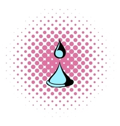 Water drop icon comics style vector image