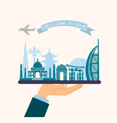 Welcome to asia attractions asia on a tray vector