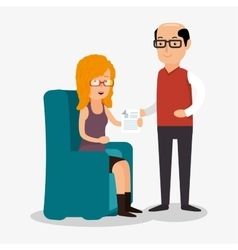 Woman and man consults document work vector