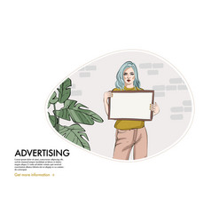 Woman holiding sign girl with blank paper board vector