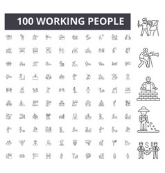 working people line icons signs set vector image