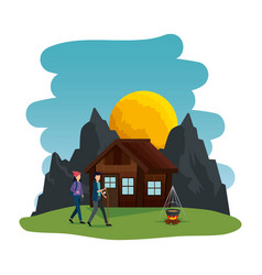 Young couple in camping zone vector