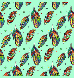 zentangle feathers pattern vector image