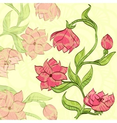 background with handdrawn flower vector image