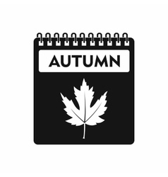 Calendar with maple leaf icon simple style vector image