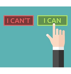 Hand pushing I can vector image vector image