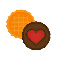 Heart cake isolated biscuit vector