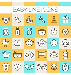 Inline Baby Icons Collection vector image