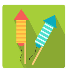 rockets for fireworks icon flat style with long vector image