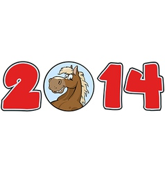 2014 Year Numbers With Horse Face vector image