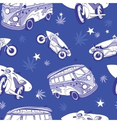 Blue Surfboards On Hippie Bus Motorcylces vector image vector image