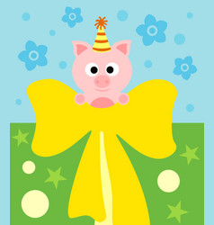 cartoon background card with funny pig vector image vector image