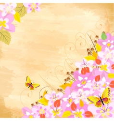 cherry flower corner vector image