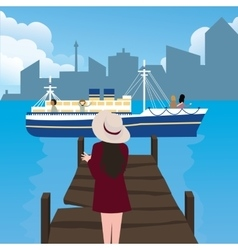 girl woman waiting in harbor port alone ship vector image