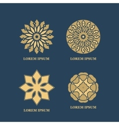 Gold mandalas or geometrical figures decorative vector image vector image