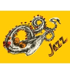 JAZZ Concept Music Engraved Hand Drawn Sketch vector image