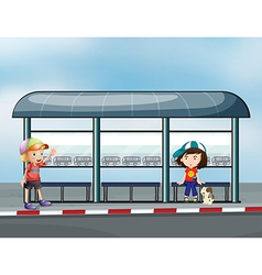 Passengers at the waiting shed vector image vector image