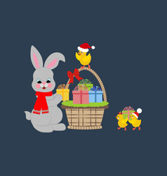 rabbit and chicken vector image vector image