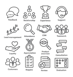 Business management icons in line style Pack 03 vector image