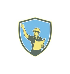 Female Construction Worker Engineer Shield Retro vector image vector image